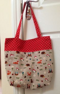 Homemade bag. Red white polka dots. Woodland animals fabric. Fox squirrel hedgehog toadstool owl flowers. http://littleknittingdog.blogspot.co.uk