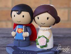 Cute SUPERMAN superhero wedding cake topper by GenefyPlayground, £88.00
