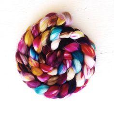 ELECTRIC ROSE color, spinning fiber, superwash merino, nylon, roving, handpainted, hand dyed, top, merino, hand dyed roving