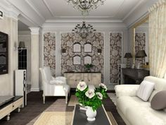 classic living room design:entrancing showy living room with the classic furniture render