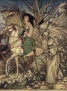 Undine and Kuhleborn from Undine by Arthur Rackham