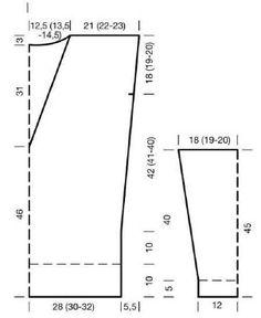 Вязание спицами. Выкройка туники с глубоким вырезом на спине. Размеры: 34/36, 38/40, 42/44