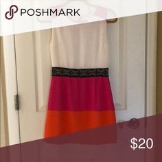 Color block dress Fuchsia and orange color block dress with black lace waist. Fits very nice great for business dress! Dresses Midi