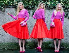Purple, red and fuchsia.....<3 a lady in red...vous êtes l'artiste de votre vie!