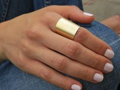 Gold ring  Wide band ring Adjustable ring Tube by HLcollection, $24.00