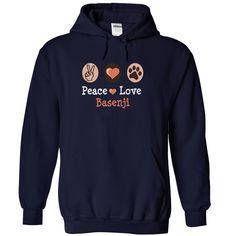peace love BASENJI I love my BASENJI T-Shirts, Hoodies. ADD TO CART ==► https://www.sunfrog.com/Pets/peace-love-BASENJI-I-love-my-BASENJI-1501-NavyBlue-17512177-Hoodie.html?id=41382