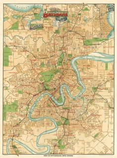 Brisbane map - Old map of Brisbane print - Old city map restored - Large map of Brisbane - up to 30 x on paper or canvas Brisbane Queensland, Brisbane Australia, Brisbane News, Fantasy Map, Old Maps, City Maps, Vintage Maps, Parcs, Geography