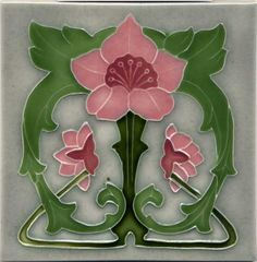 "Tile V56 - Reproduction Art Nouveau Tile  - porteous nz - Tiles are aprox. 150mm x 150mm (6"" x 6"") or 150mm x 75mm (6"" x 3"")."