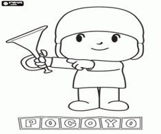 Pocoyo with a trumpet coloring page