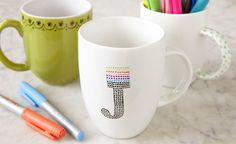 BAKED MUGS    Materials:    Permanent markers or porcelain paint pens  Plain ceramic drinking mug  Stencils (optional)    Directions:    Preheat oven to 350°F.  Write, draw or trace a customized message on the mug.  Bake for 30 minutes, then set on a cooling rack to cool.  Hand wash mugs before using.