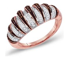 Brown Chocolate Diamond Ring Right Hand Band 10k Rose Gold (0.25 ct.tw) #Diamond #wedding #Engagement #Band #fashion #Jewelry jeweltie.com
