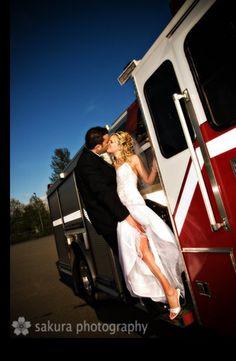 Firetruck wedding photo