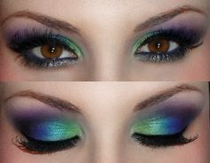 Purple, blue and green eyeshadow for brown eyes