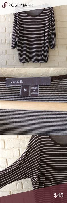 Vince Chocolate and cream striped dolman sweater Super cozy and adorable Vince sweater Vince Sweaters Crew & Scoop Necks