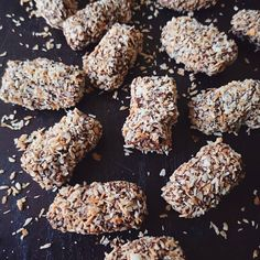 Coconut and cashew caramels.  So addictive it's hard to stop at just one piece. . . . #chewycaramel #butterygoodness #toastedcoconut #chocolate #confections Caramels, Toasted Coconut, Cereal, Cooking Recipes, Chocolate, Breakfast, Desserts, Food, Morning Coffee