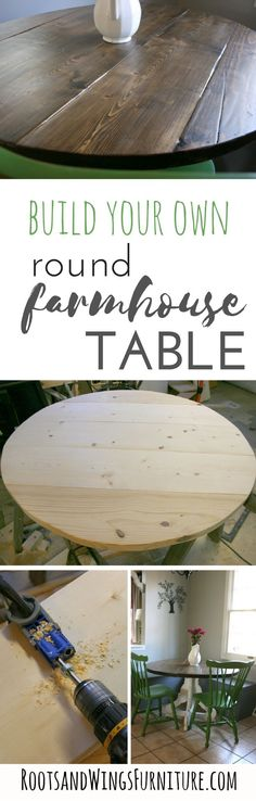How to build a custom sized round table top.  Build your own farmhouse table with step by step instructions by Jenni of Roots and Wings Furniture.