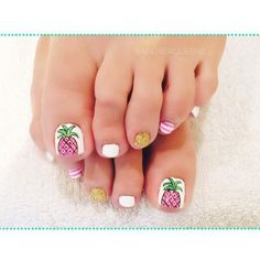 56 Adorable Toe Nail Designs For Summer 2017 Pineapple Toes Pedicure Colors, Pedicure Designs, Toe Nail Designs, Manicure And Pedicure, Pedicure Ideas, White Pedicure, French Pedicure, Nails Design, Art Designs