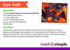 Scare up some tasty fun with these Boo Bats as an appetizer this Halloween using Tastefully Simple's Garden Pepper and Feta Cheese Ball Mix.