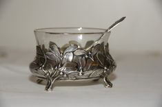 Gewürze Jugendstil Salieren Schale 37 Gramm Silber 800 Tafelsilber um 1900 Gold
