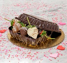Our specialty Valentine's Day item - our hand-made chocolate box filled with mixed chocolate-covered strawberries! It doesn't get better than this!
