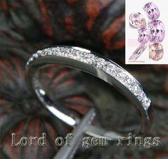 Pave Diamond Wedding Band Half Eternity Anniversary Ring 14K White Gold - Lord of Gem Rings - 1
