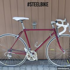 wonderfil #red #steelbike. it is a #peugeoz with #shimano 100