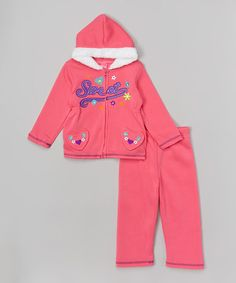 Love this Fuchsia 'Sweet' Fleece Hoodie & Pants - Infant & Toddler by Girls Luv Pink on #zulily! #zulilyfinds