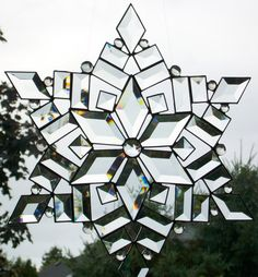 Stained Glass Snowflake  bevels by sunfirestainedglass on Etsy, $125.00