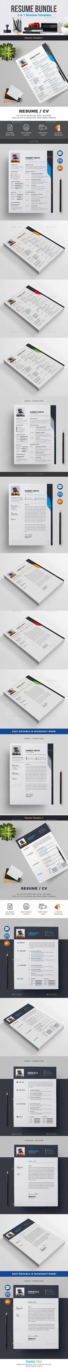 Resume & Cover Letter Big Bundle | Resume cover letters, Template ...