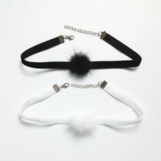 Black / White Velvet Choker Necklace with Fluffy Mink Fur Ball Pom Pom, Purple Pom Pom