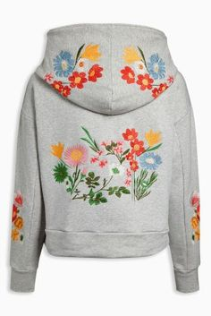 Buy Grey Oversized Embroidered Hoody from Next Australia
