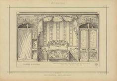 Chambre à coucher : alcôve avec armoire et porte de dégagement par cotés, fond velours teinté. Lambris, décor et meubles en frêne verni - ID: 96847 - NYPL Digital Gallery