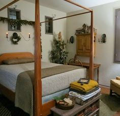 1840 LIVING--Love the pencil post bed, the greens, the candle, everything!