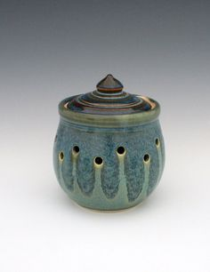 Blue and Jade Green Garlic Keeper C S Stangel Pottery