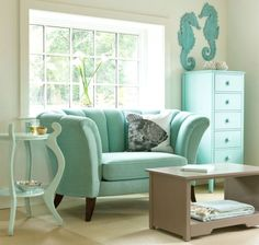 love this minty, seaform green color theme #interiordesign