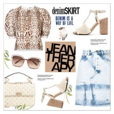 """""""Jean Dreams: Denim Skirts"""" by alinepinkskirt ❤ liked on Polyvore featuring Golden Goose, ADAM, Jaggar, Valentino, Chloé, Therapy and denimskirts"""