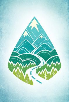 This design is so well color schemed. I like how the road goes through the mountains showing the theme. It's a simple shape with a unique picture inside. It shows a message