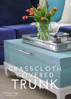 Love what she did with this. DIY | Grasscloth-Covered Trunk (with Walls Republic!)
