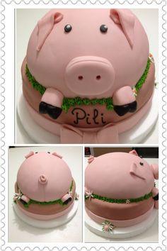 Chanchito para el cumple de 1 año de Pili Cupcake Cookies, Cupcakes, Kate Grace, Piggy Cake, Pig Pig, Novelty Cakes, Cutest Animals, Awesome Cakes, Cows