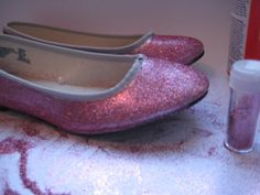 How to add glitter to shoes (could make ruby slippers!)