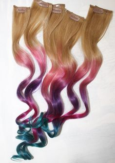 Pastel Tie Dye Hair Tips, Dirty Blonde, Human Hair Extensions, Colored Hair Clip, Hair Wefts, Clip in Hair, Tie Dye, Dipped Dyed Hair. $57.00, via Etsy.