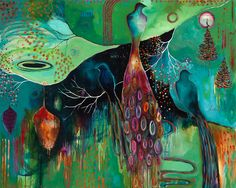 """Art by Flora Bowley """"Light Trio"""". I love the way she does her birds. Her art is truly unique and amazing."""