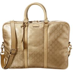 Gucci Gg Supreme Metallic Leather Briefcase ($950) ❤ liked on Polyvore featuring men's fashion, men's bags, men's briefcases, metallic and mens leather briefcase