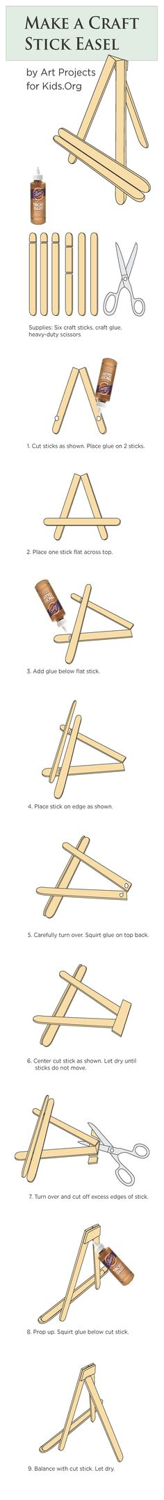 Popsicle Stick Easel Tutorial · Art Projects for Kids Craft Stick Easel Tutorial Popsicle Crafts, Craft Stick Crafts, Fun Crafts, Diy And Crafts, Crafts For Kids, Craft Sticks, Plate Crafts, Paint Sticks, Craft Art