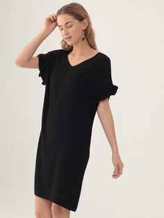 Nice Things Frill Dress in Black   Maze Clothing
