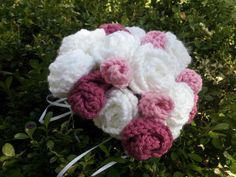 Crochet Bridal Bouquet - Wedding Bouquet - White and Shades of Pink Flowers - Ready to Ship