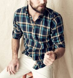 Men in Plaid Shirts Tom Bull Tom Bull, Beige Chinos, Men Casual, Casual Outfits, Men's Outfits, Hair And Beard Styles, Navy And Green, Well Dressed Men, My Boyfriend