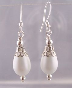 Romantic Earrings Gift for Her, Girlfriend Wife, Daughter Mom, Bridal Jewelry, White Earrings, Idea for Present, Unique Jewelry, Simple Drop