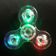 LED Flash Light Hand Tri-Spinner EDC Fidget Focus Kid Adult Anti-Stress Toy Cool