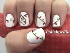 christmas lights nail art i would use black striper polish instead of an actual string
